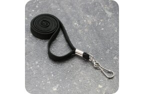 LANYARDS 1cm BLACK WITH HOOK